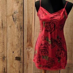 Victoria's Secret nightie slip roses red medium